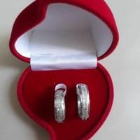 Cincin Couple Pasir Berkilau Diamond free Ukir Nama & Box Beludru