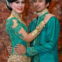 for rent sewa baju kebaya beskap pengantin hijau sepasang