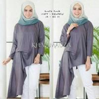 asimetris tunik blouse abu tunic bluss baju atasan wanita muslim unik