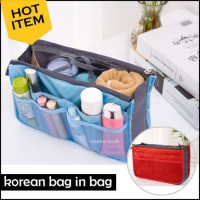 Jual Korean Dual Bag in Bag Organizer-Tas Dalam Tas Korea Resleting Ganda Murah