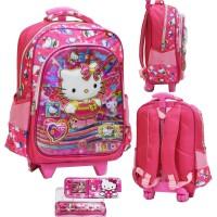 Jual Diskon Tas Trolley Anak SD Import Hello Kitty 5D Hologram Kotak Pensi Murah