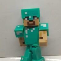 Action Figure minecraft Steve with Diamond Armor mojang Berkualitas