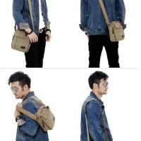 Tas Slempang Pria Casual Import Kanvas - Shoulder Bags Multifungsi