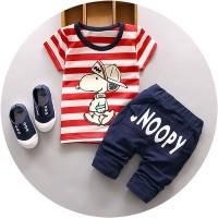 Baju Setelan Anak Laki laki Fashion Import Cowok Snoopy garis merah