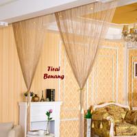 Jual Home Tool Tirai Benang Motif Polos Coklat Gold (Motif P Cs Murah