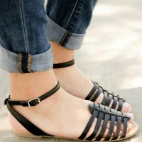 harga |crs| Super Murah Sepatu Sandal Wanita Teplek Gladiator Hitam Tokopedia.com