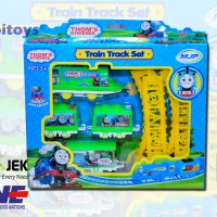 Mainan kereta api 4 gerbong rel dilengkapi alphabet