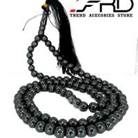 Jual MFFU Kalung Tasbih Batu Giok Hitam Asli 99 Butir Necklace Black Jade Murah