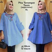 Jual DISKON 57243 pita terompet tunic/baju tunik murah/atasan muslim wanita Murah