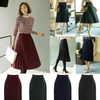 Jual Muin Pleated Skirt(#605-1)/Rok velvet/Rok maxi midi/Rok kerja/Rokpesta Murah
