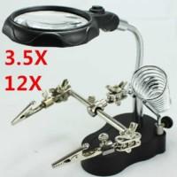 Jual Pegangan Solder Fleksibel dengan Kaca Pembesar 3.5x 12x dan Lampu LED  Murah