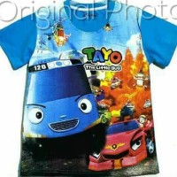 OBRAL!!! KAOS ANAK SIZE 7-10 TAYO THE LITTLE BUS PRINTING BLUE 2 | AOS
