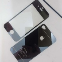 Jual TERMURAH Iphone 4/4S Black Tempered Glass Mirror Antigores Kaca Warna Murah