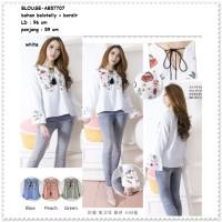 Jual Baju Atasan Boho Bohemian Tunik Blouse Wanita Korea Import Pink Putih Murah