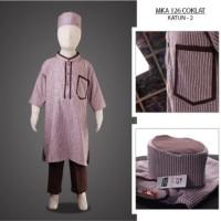 MKA126Coklat(5-7tahun) baju koko anak gemuk model gamis