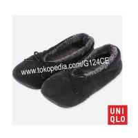 SEPATU WANITA RUMAH UNIQLO Velour Room Ballet Shoes 400764 hitam black