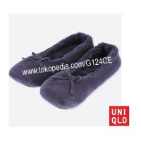 SEPATU WANITA RUMAH UNIQLO Velour Room Ballet Shoes 400764 NAVY