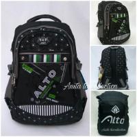 Tas Alto Import Ori / Ransel Laptop Hitam Abu + Rain Coat / Bag Cover