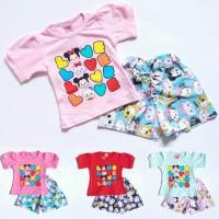 SALE Baju Setelan Anak Bayi Perempuan Kaos Love Tsum Tsum Celana Katu