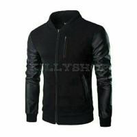 Jual jaket pria semi kulit night black Murah