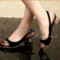 Jual Sepatu Wanita Cewek Heels Nova Hitam Glitter Terbaru Murah