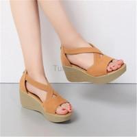Jual Sepatu Wanita Cewek Sandal Wedges Ls02 Tan Terbaru Murah