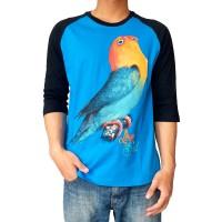 Bawara Kaos Burung Kicau Lovebird Parblue Raglan 3/4 Turkis Hitam