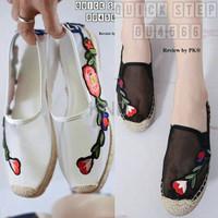 Jual Sepatu Wanita Cewek Flats Balet Jaring Embro Flower Black Terlaris Murah