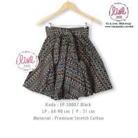 Jual Rok Batik Wanita/Bawahan Batik Cewek/Midi Flare Skirt/Batik Hitam Murah