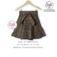 Jual Rok Batik Wanita/Bawahan Batik Cewek/Midi Flare Skirt/Batik Cokelat Murah
