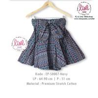 Jual Rok Batik Wanita/Bawahan Batik Cewek/Midi Flare Skirt/Batik Biru Navy Murah