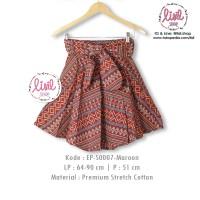 Jual Rok Batik Wanita/Bawahan Batik Cewek/Midi Flare Skirt/Batik Merah Murah