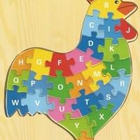Jual Mainan Edukatif / Edukasi Anak - Puzzle Kayu Ayam Jago Huruf Besar Murah