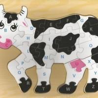 Jual Mainan Edukatif / Edukasi Anak - Puzzle Sapi / Cow - Huruf Besar Murah