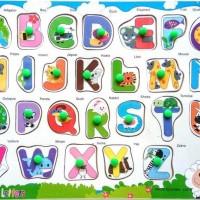 Jual Mainan Edukatif / Edukasi Anak - Puzzle Knop Pin Huruf Besar Gambar Murah
