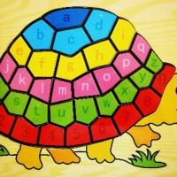 Jual Mainan Edukatif / Edukasi Anak - Puzzle Kura Kura/Turtle - Huruf Angka Murah