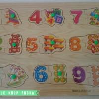 Jual Mainan Edukatif / Edukasi Anak - Puzzle Knop Angka Belajar Berhitung Murah