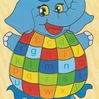 Jual Mainan Edukatif / Edukasi Anak - Puzzle Kayu Gajah Sirkus Huruf Kecil Murah