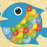 Jual Mainan Edukatif / Edukasi Anak - Puzzle Kayu Ikan / Fish - Huruf Besar Murah