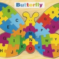 Jual Mainan Edukatif / Edukasi Anak - Puzzle Kupu Kupu - Huruf Besar Murah