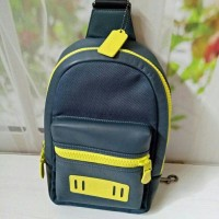 Coach Polgan Backpack Blue Yellow Leather. Tas Pria Branded Original