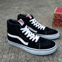 SEPATU SNEAKERS PREMIUM VANS SK8 HIGH BLACK WHITE ORI BNIB WAFLE IFC
