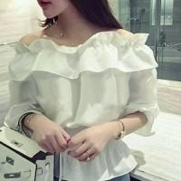 Jual Baju blouse wanita White sabrina Murah