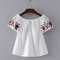 Jual BLOUSE SABRINA WST 19205 White Flower Sleeve Top Murah