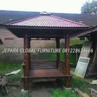 gazebo kayu glugu (meja makan,dipan,sofa,ruang santai)
