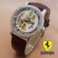 Jual B1 Ferrari Skeleton Leather White Dial Brow KODE DG1 Murah