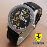 Jual B1 Ferrari Skeleton Leather Black Dial Blac KODE DG1 Murah