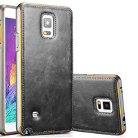 LEATHER SLIDING Samsung Galaxy Note 4 bumper back cover case casing