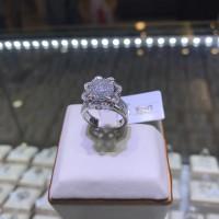 Cincin berlian eropa model bunga full diamond emas putih gold grosir