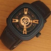 Jual Jam tangan Pria Seven Friday Tengkorak Black Leather Gr Premium Murah